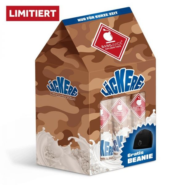 Bang Juice Aroma - LÄCKEREI Bundle - 3 x Milchreis und Zimt + 1 x Beanie - LIMITED EDITION